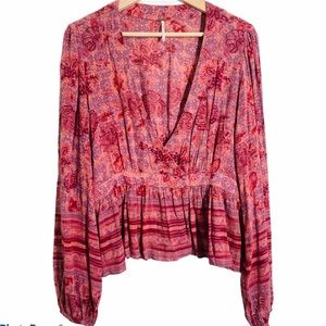 FREE PEOPLE Faux wrap boho floral peplum top med